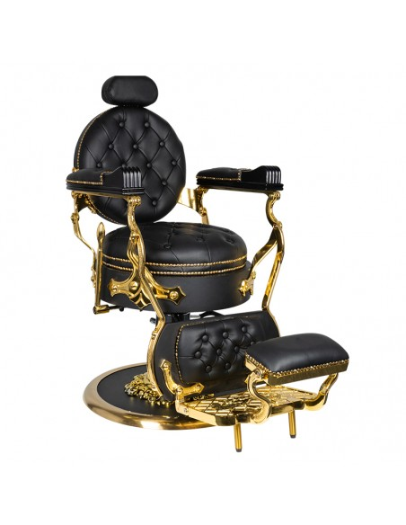 Barber Chair CESAR Herrenfriseurstuhl in schwarz/gold