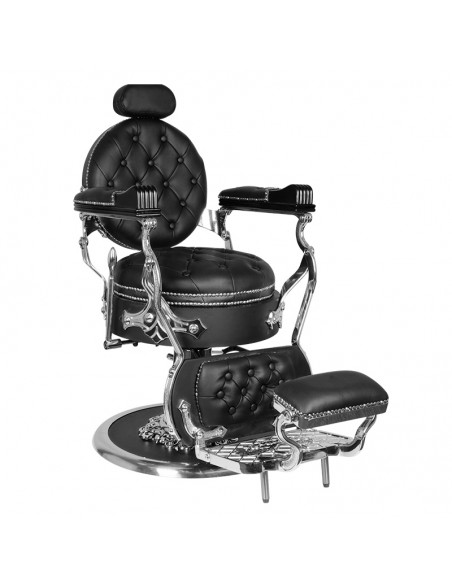 Barber Chair CESAR Herrenfriseurstuhl in schwarz/silber